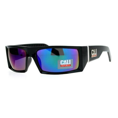 SA106 Cali Republic Mirrored Mirror Rigid Narrow Rectangular Biker Sunglasses Teal (Cali Sunglasses)