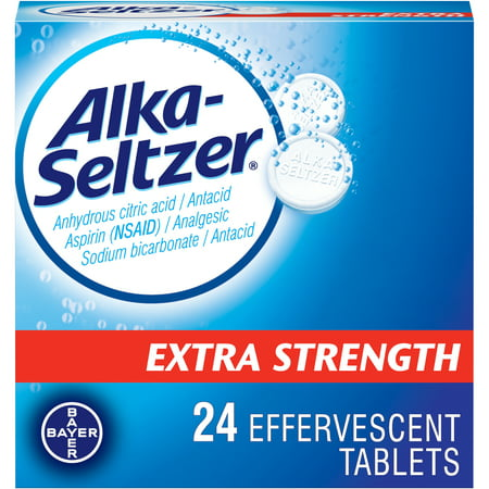 Alka-Seltzer Extra Strength Effervescent Tablets, 24 Count Alka Seltzer Antacid Medicine