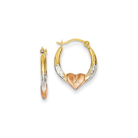 Tri Color Earrings (14kt Yellow Gold Tri Color Heart Hoop Earrings Ear Hoops Set Love Fine Jewelry Ideal Gifts For Women Gift Set From Heart )