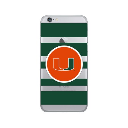 University of Miami Clear Phone Case, Stripes V1 - iPhone 6/6s/7/8