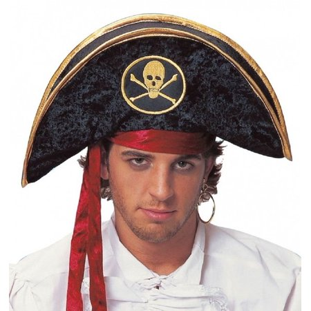 Deluxe Velvet Pirate Buccaneer Black Gold Hat Adult Costume Accessory for $<!---->