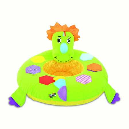 Playnest Soft Quilted Centre and Fabric Cover 2-Smiley Face Crinkle Patch Dino Toy with Textures and Roar Sound in Dino's Horn