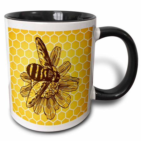 3dRose A Woodcut Style Bee Rendering with a Honeycomb Background - Two Tone Black Mug, (Emma Bridgewater Rose And Bee Mum Mug)
