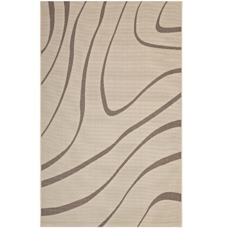 Modway Surge Swirl Abstract 5x8 Indoor And Outdoor Area Rug In Light Dark Beige
