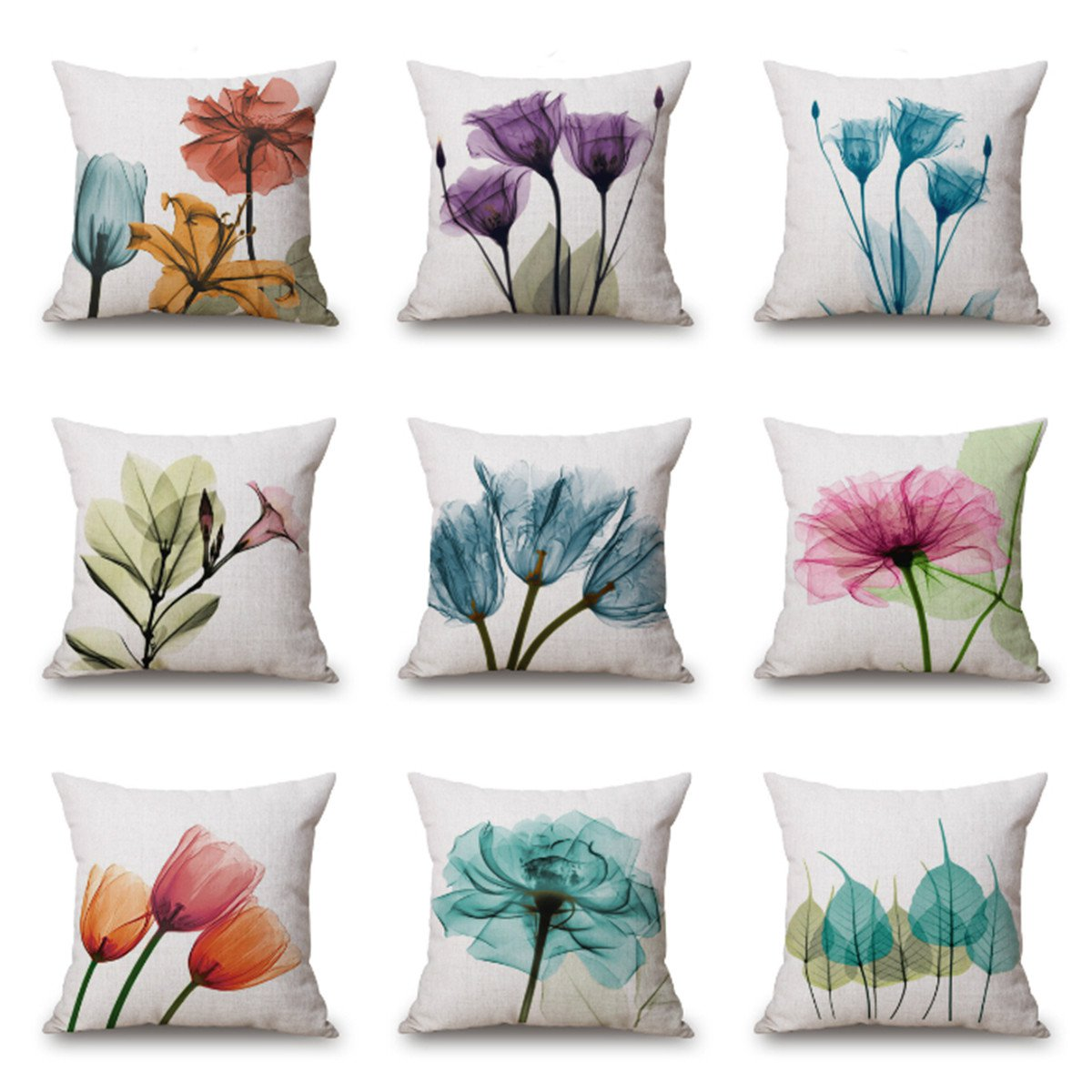 Meigar Decorative Throw Pillow Covers Clearance 18x18 Inches Simple Style Flowers Linen Pillow Cases Protector with Zipper for Car Sofa Couch Bed Home