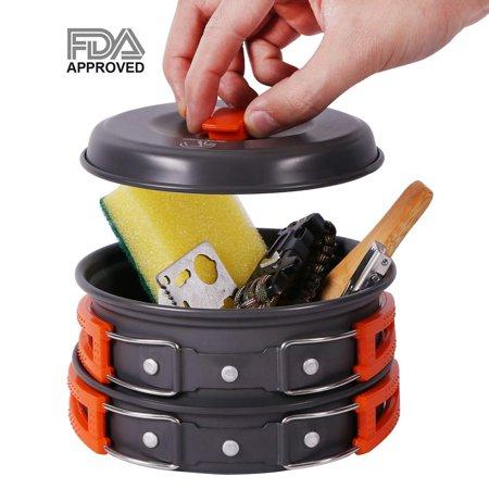 (Camping Cookware Set, 1-2 Person, 10pcs, Lightweight & Compact Camping Mess Kit, Non-stick Aluminum Camping Pots and Pans Set)