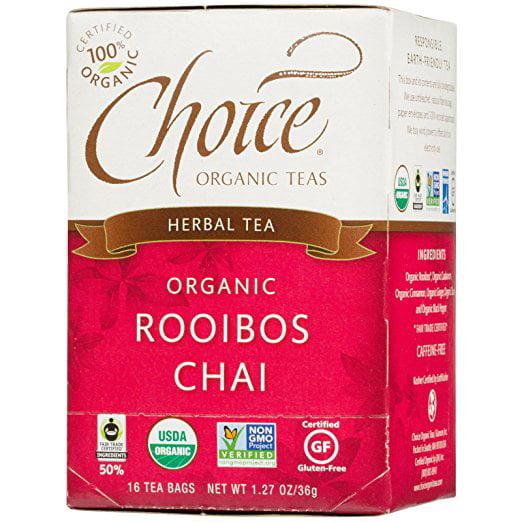 Choice Organic Teas, Herbal Tea, Organic, Rooibos Chai, Caffeine-Free, 16 Tea Bags, 1.27... by
