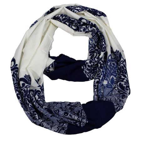 Peach Couture  Damask Vintage Floral Loop Infinity Circle Scarf