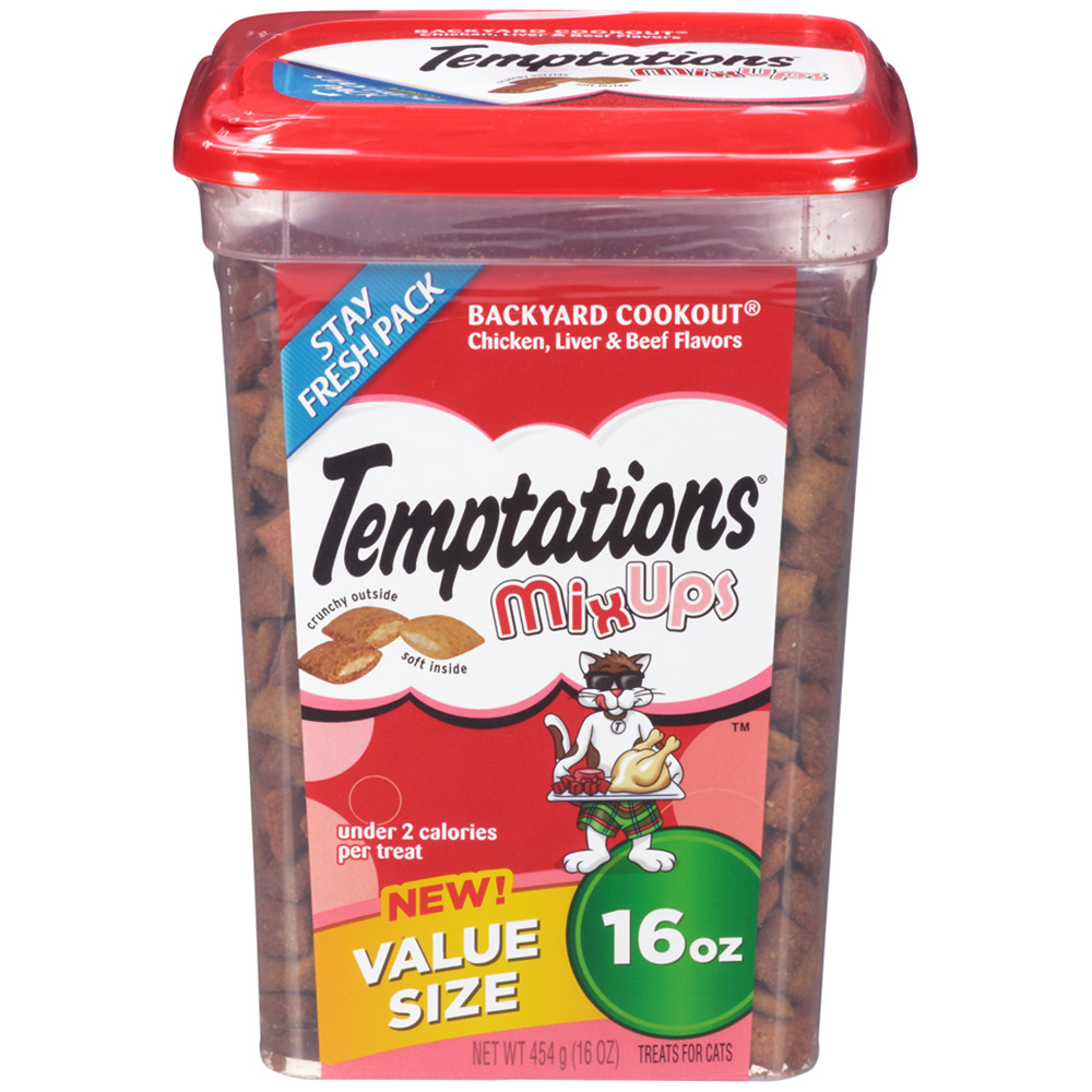 TEMPTATIONS MixUps Treats for Cats BACKYARD COOKOUT Flavor 16 Ounces