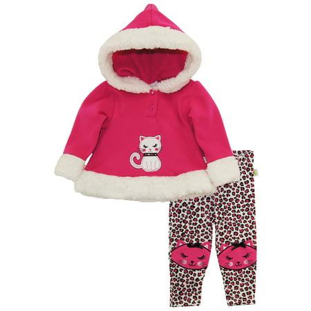 Duck Goose Baby Girl Cheetah Lady Hooded Microfleece Jacket Animal Print Legging Pant Set for $<!---->