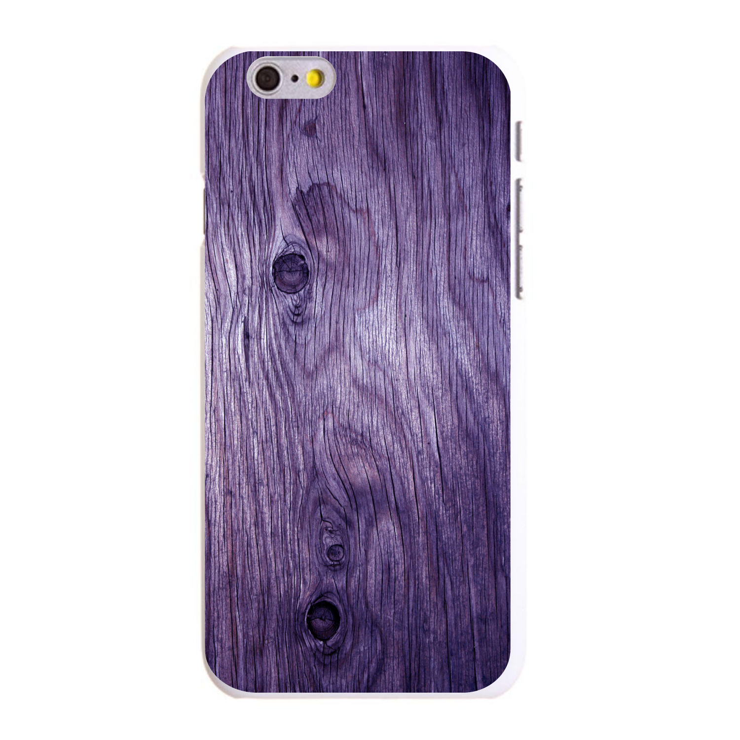 "CUSTOM White Hard Plastic Snap-On Case for Apple iPhone 6 / 6S (4.7"" Screen) - Purple Weathered Wood Grain"