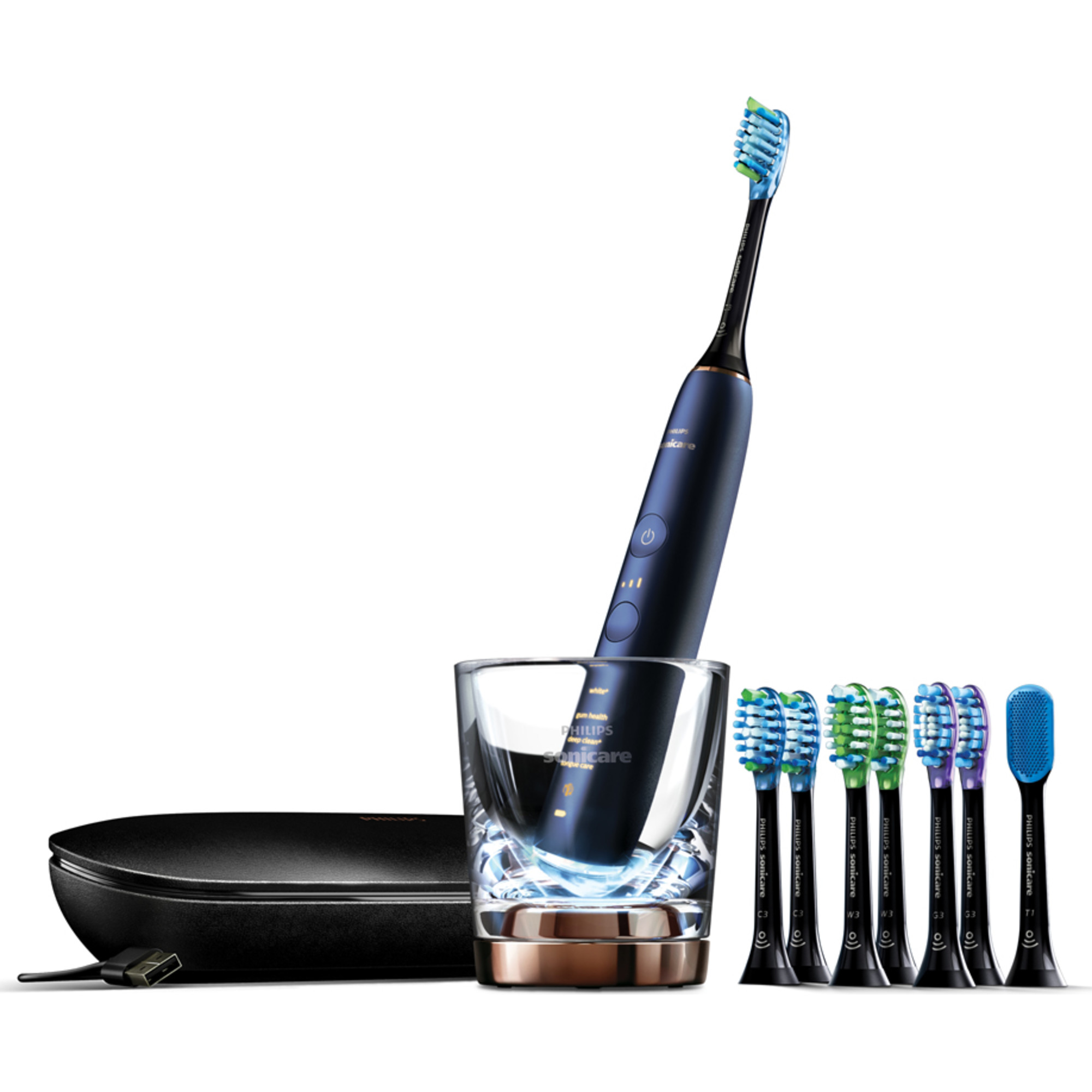 Philips Sonicare DiamondClean Smart 9700 Electric, Rechargeable toothbrush for Complete Oral Care, with Charging Travel Case, 5 modes, and 8 Brush Heads – 9700 Series, Lunar Blue, HX9957/51