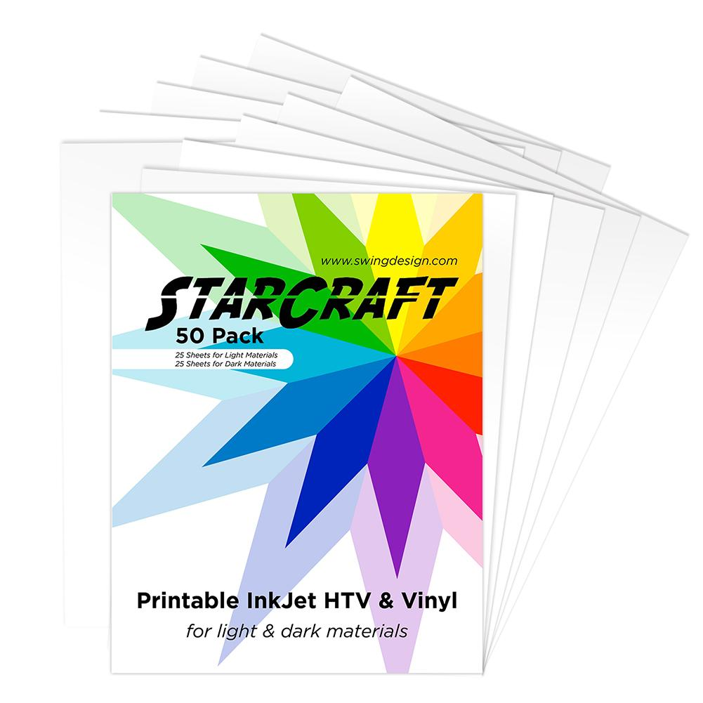 picture relating to Inkjet Printable Vinyl Walmart known as StarCraft Inkjet Printable Warmth Move 50 Sheet Pack - Dim Mild Substance