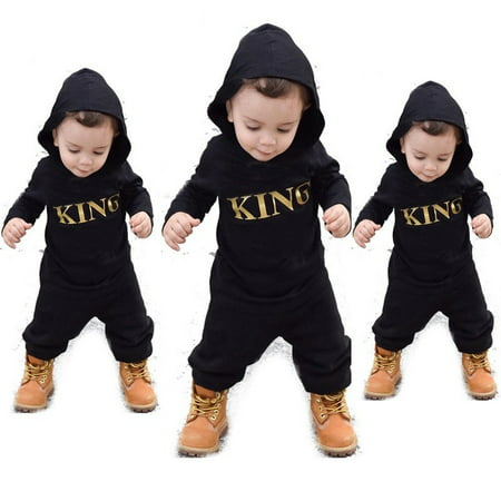 Newborn Infant Baby Boys Girl Kids King Romper Jumpsuit Bodysuit Clothes Outfits Fashion Hot