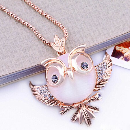 Crystal Rose Gold Necklace (Tuscom Rose Gold Retro Antique Alloy With Rhinestone Crystal Owl Necklace)
