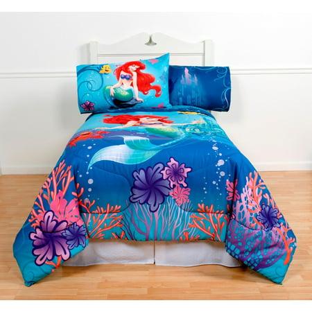 The Little Mermaid Full Comforter & Sheet Set (5 Piece Bed In A Bag) (Little Mermaid Sheet Set)