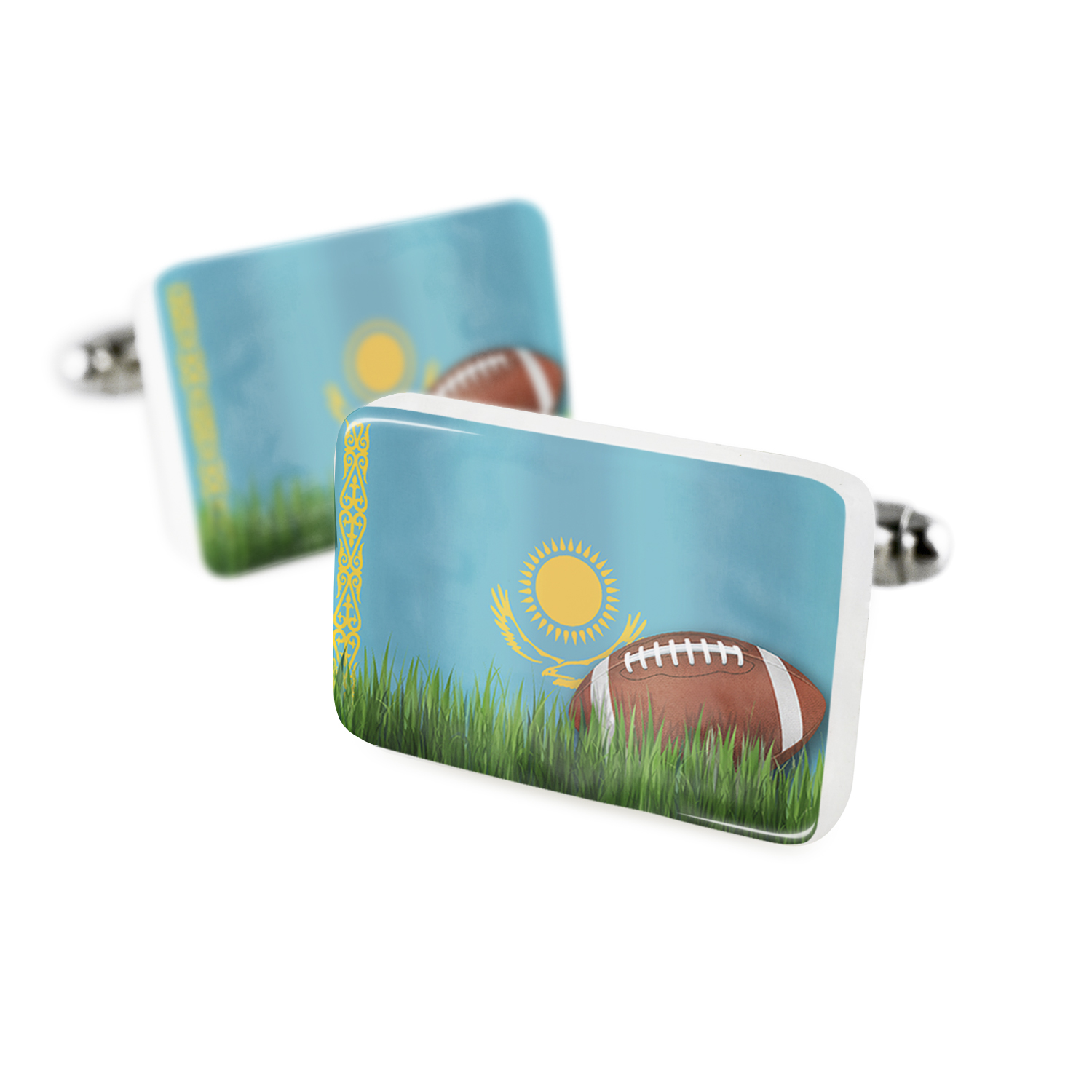 Cufflinks Football with Flag Kazakhstan Porcelain Ceramic NEONBLOND
