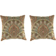"Set of Two Outdoor 18"" Square Toss Pillows, Crescent Beach Coral"