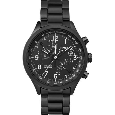 Men's Intelligent Quartz Fly-Back Chronograph Black Watch, Stainless Steel Bracelet