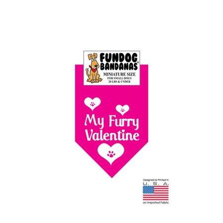 MINI Fun Dog Bandana - My Furry Valentine - Miniature Size for Small Dogs under 20 lbs, hot pink pet scarf ()