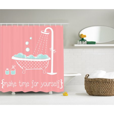 Clawfoot Shower - 69 x 70 Clawfoot Tub Make Time for Yourself Shower Curtain Coral Turquoise White