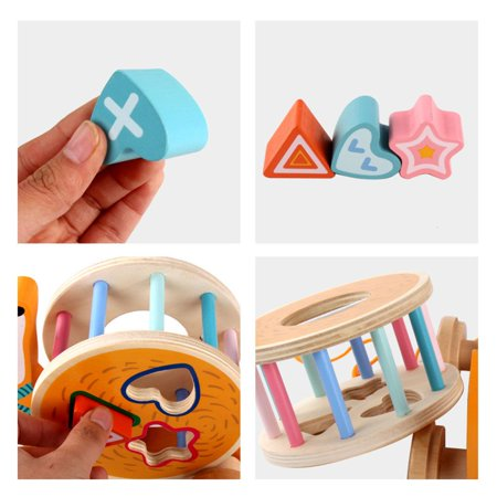 fashionhome Children Wooden Pull Toy Cartoon Animal Building Blocks Matching Early Educational Toys Kids Birthday Gifts - image 2 de 8