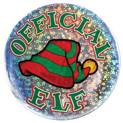 (Pack of 12) Christmas Official Elf Button