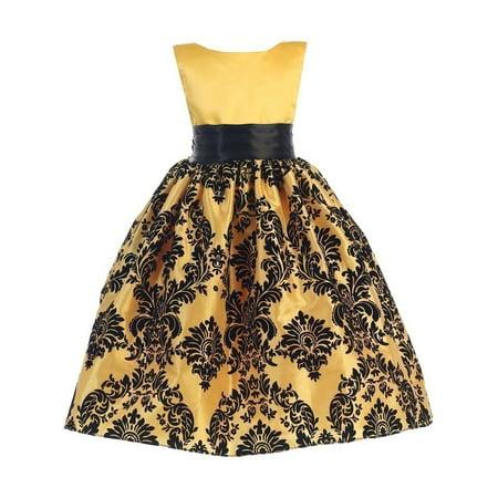 Little Girls Yellow Black Damask Satin Sleeveless Special Occasion Dress (Special Occasion Dresses For Little Girls)