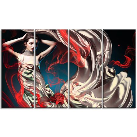 Womens Fairy Dress (Design Art Woman in Long Fairy Dress - Abstract Portrait 4 Piece Graphic Art on Wrapped Canvas)