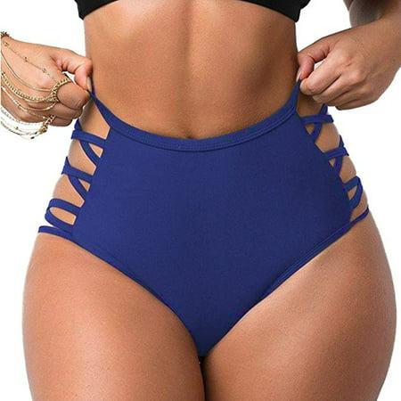 FITTOO Sexy Women's Swimwear Bikini Retro High Waisted Strappy Brief Bottom Solid Color