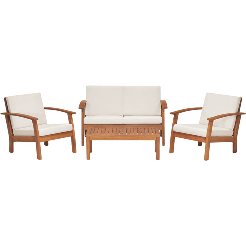 Amazonia Kingsboro 4 Piece Eucalyptus Patio Conversation Set, Seats 4