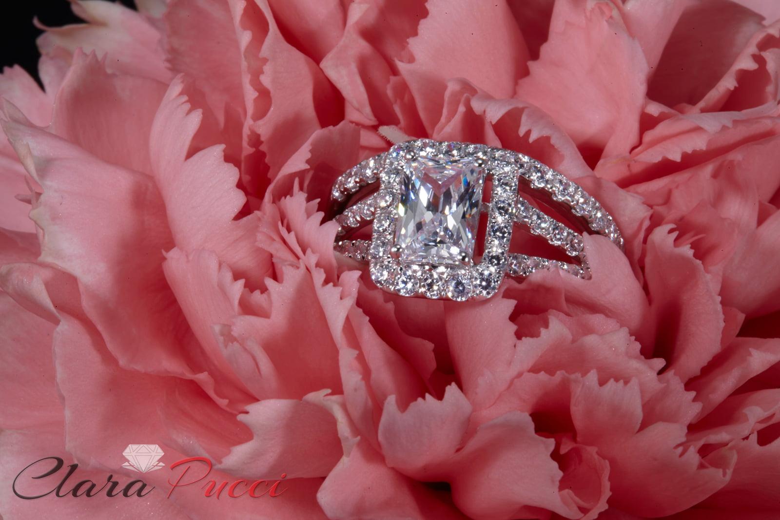 1.70 CT Emerald Cut Sim Diamond Pave Halo Bridal Engagement Wedding ...