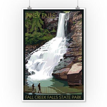 Fall Creek Falls State Park, Tennessee - Piney Falls - Lantern Press Poster (9x12 Art Print, Wall Decor Travel Poster)