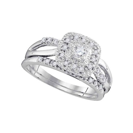 10kt White Gold Womens Round Diamond Bridal Wedding Engagement Ring Band Set (.33 cttw.)