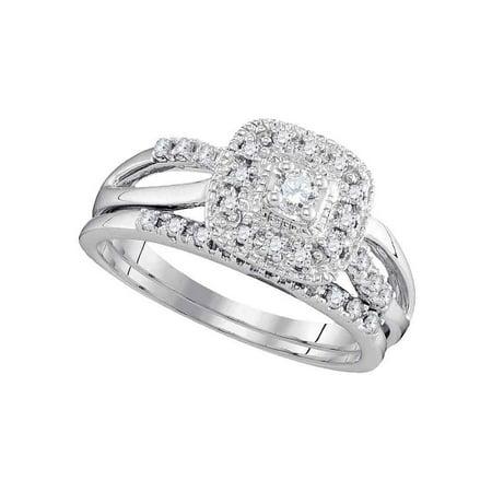10kt White Gold Womens Round Diamond Bridal Wedding Engagement Ring Band Set (.33 cttw.) Diamond Bridal Band Ring