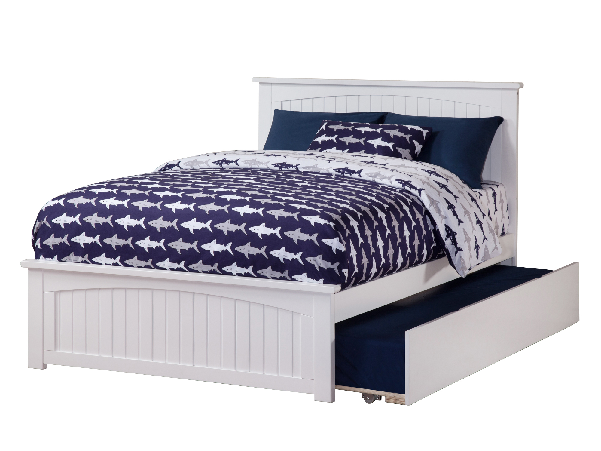 Nantucket Full Platform Bed with Matching Foot Board with Twin Size Urban Trundle Bed in White by Atlantic Furniture