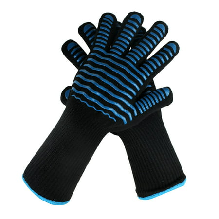 Nomex &Silicone Heat Resistant Oven Gloves,Long Sleeve Oven Gloves With FingersFor Grilling,Cooking, Baking,1 Pair (Long Glove)
