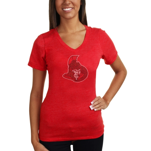 Ottawa Senators Women's Sequin Logo Multi V-Neck Slim Fit T-Shirt - Red