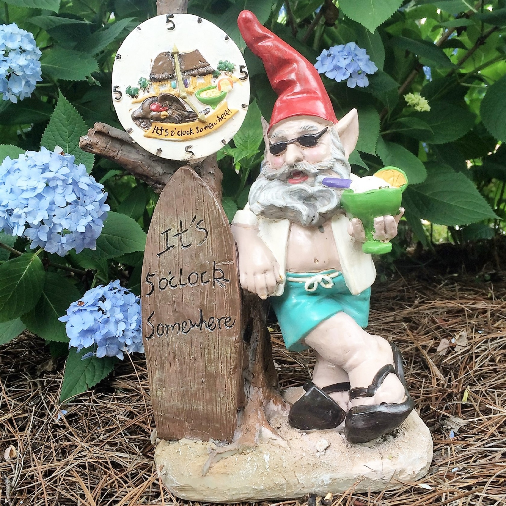 "Nowaday Gnomes Beach Bum ""Bubba"" the Beach Gnome ""It's 5 O'clock... by GSI Homestyles"