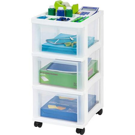 Iris 3 Drawer Rolling Storage Cart With Organizer Top White