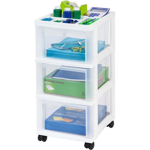 Great IRIS 3 Drawer Rolling Storage Cart With Organizer Top, White