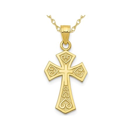 10K Yellow Gold Reversible Cross Pendant Necklace with Chain - image 4 de 4