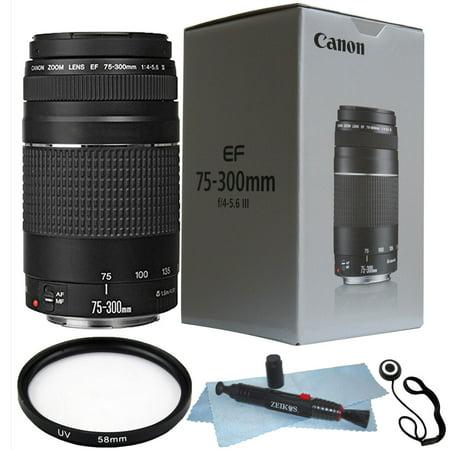 Canon EF 75-300mm f/4.0-5.6 III Lens + 58mm UV Filter + Lens Pen + Cap Holder
