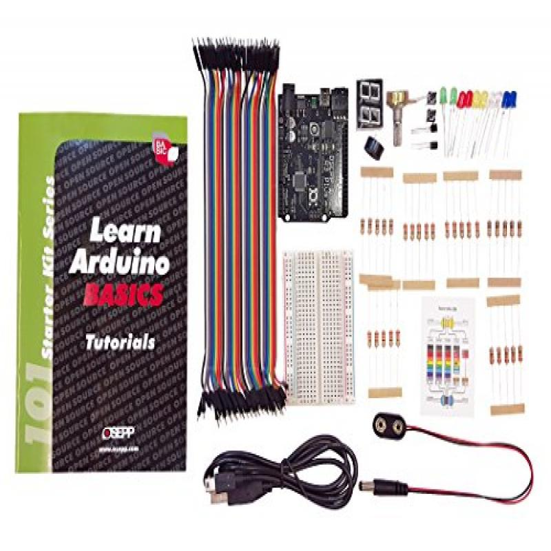 OSEPP Arduino Basic Starter Kit, UNO R3 Plus Board (ARD-01)