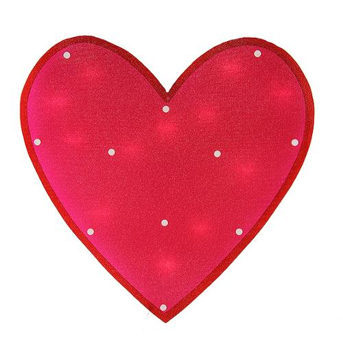 "15"" Lighted Shimmering Pink Heart Valentine's Day Window Silhouette"