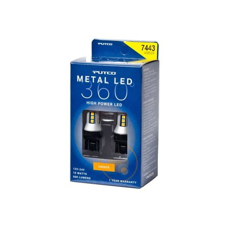 Putco Lighting 347443A-360 Metal LED 360; 7443 Bulb Type; Amber;