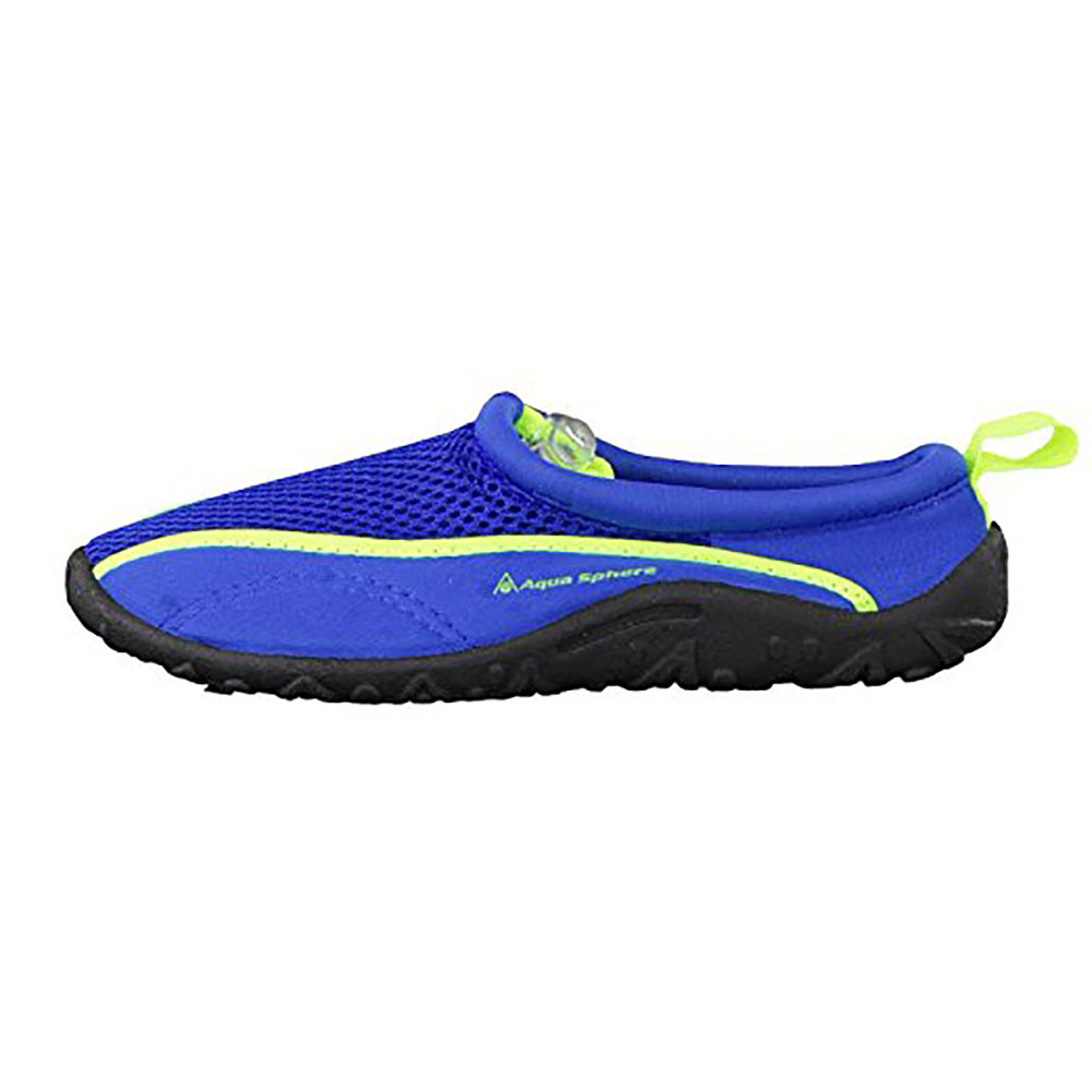 Click here to buy Aqua Sphere Lisbona Youth Slip On Blue Water Shoes by AQUA LUNG.