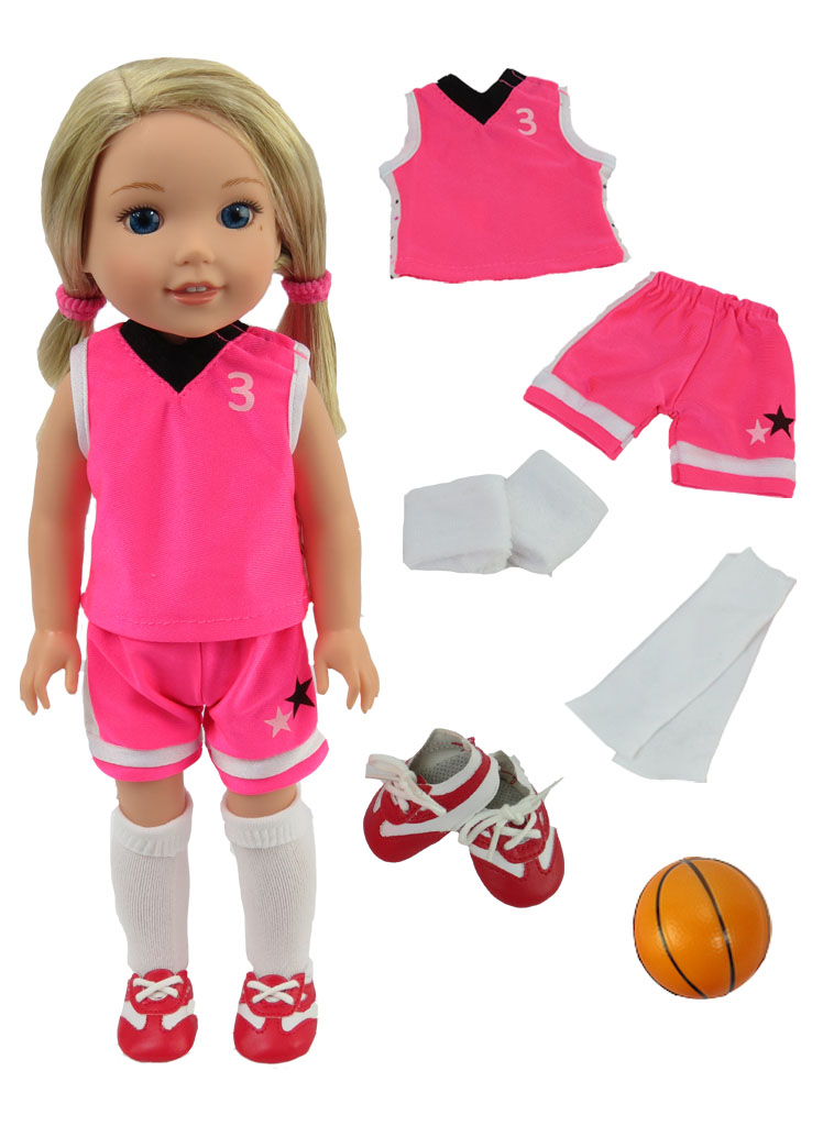 """Hot Pink Basketball Uniform-Fits 14"""" Wellie Wisher Dolls 
