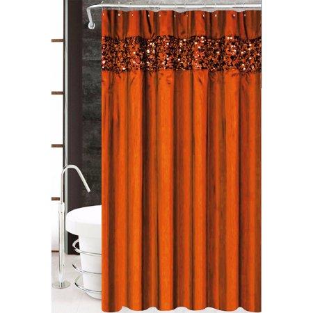 Vegas Sequined Fabric Shower Curtain Orange 70 X72