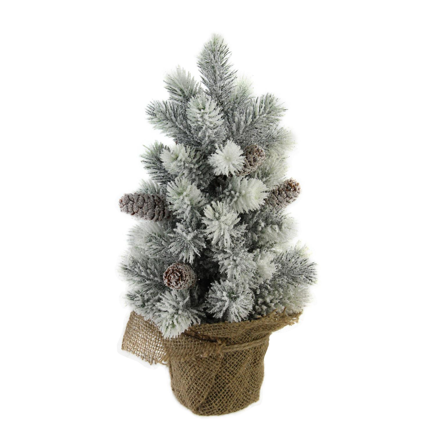 "15.5"" Snow Flocked Green Pine Artificial Table Top Christmas Tree with Burlap Base"